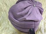 Зимняя кашемировая  сиреневая шапка  с объёмным плетением, фото 2