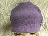 Зимняя кашемировая  сиреневая шапка  с объёмным плетением, фото 3