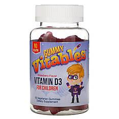 Жевательный витамин Д3 для детей, вкус клубники, 60 вегетарианских жевательных конфет Vitables