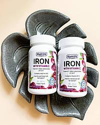 Железо с витамином С, с ароматом винограда, 60 желейных конфет, YumV's