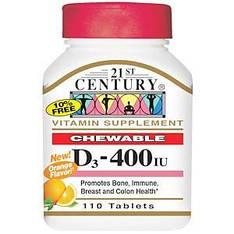 Витамин D3, жевательные пастилки, с ароматом апельсина, 400 МЕ, 110 таблеток, 21st Century