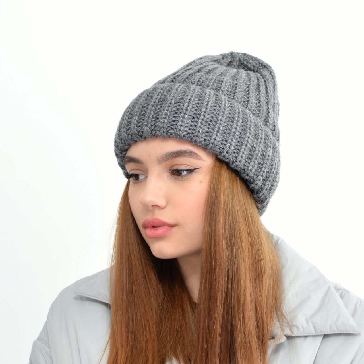 Молодіжна шапка на флісі 3377 темний сірий