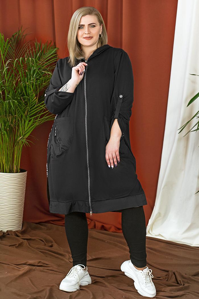 / Розмір 54,56,58,60,62,64 / Жіночий комфортний подовжений кардиган / колір чорний