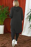 / Розмір 54,56,58,60,62,64 / Жіночий комфортний подовжений кардиган / колір чорний, фото 4