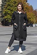 / Розмір 54,56,58,60,62,64 / Жіночий комфортний подовжений кардиган / колір чорний, фото 5