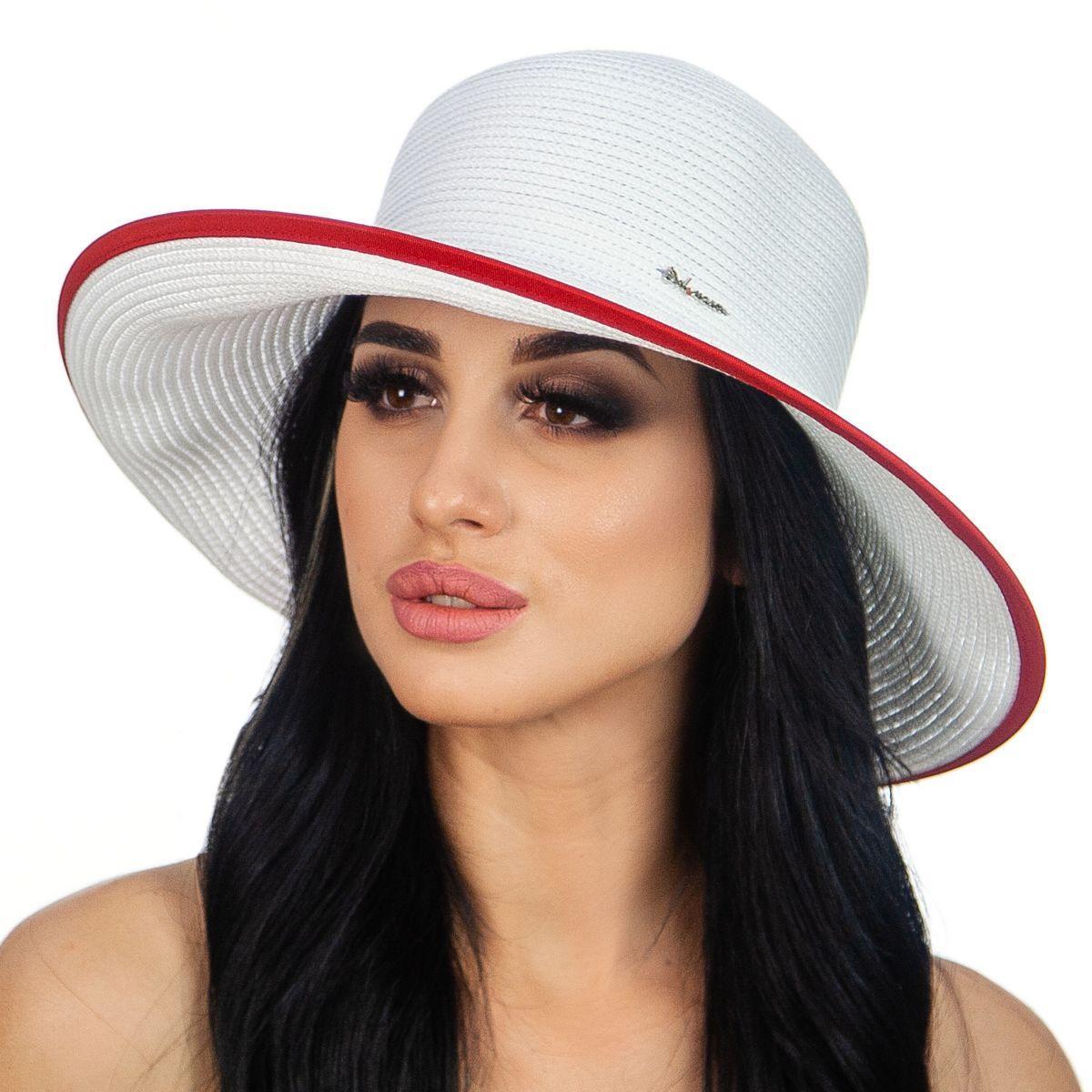 Біла жіноча капелюх середні поля з червоною окантовкою
