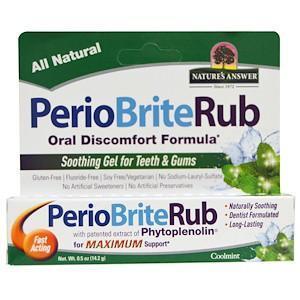Успокаивающий гель для зубов и десен, прохладная мята (14,2 г) Nature's Answer, PerioBriteRub
