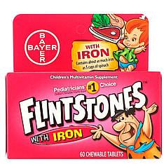 Детский поливитамин с железом, фруктовые вкусы, 60 жевательных таблеток, Flintstones