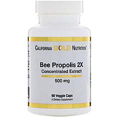 Прополіс 2X, концентрований екстракт, 500 мг, 90 вегетаріанських капсул California Gold Nutrition