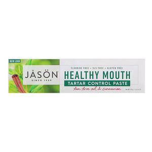 Паста протви зубного каменю, масло чайного дерева і кориця (119 г) Jason Natural, Healthy Mouth, фото 2