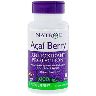 Ягоди асаї, 1000 мг, 75 вегетаріанських капсул, Natrol, фото 2