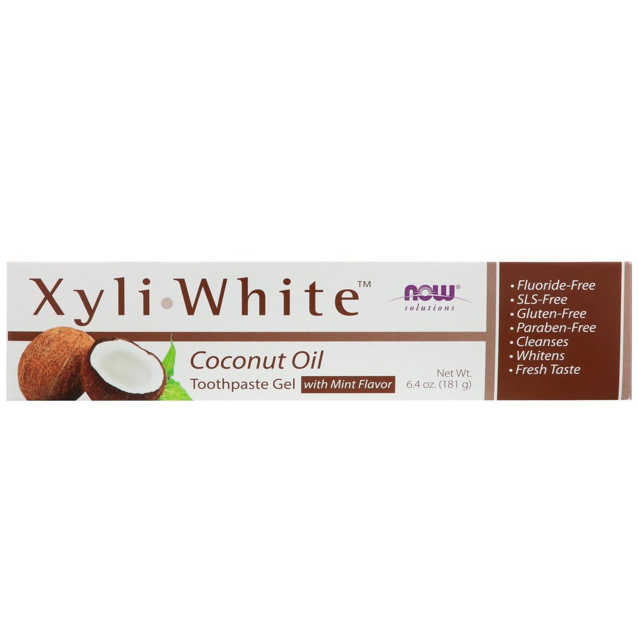 Зубна паста - гель, кокосове масло зі смаком м'яти, 181 р Now Foods, Solutions, XyliWhite
