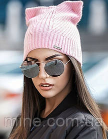 Шапка з вушками рожева одинарна