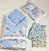 Комплект для новонароджених BeniLo - ковдра-конверт на виписку, ортопедична подушка, муслінові пелюшки