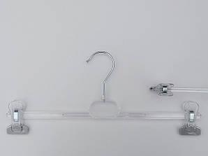 Довжина 30 см. Плічка вішалки пластмасові з прищіпками затискачами для брюк і спідниць V-B30 прозорі