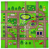 Ігровий підлоговий двосторонній складаний термо-килимок, бэбипол 1500*1800*8 мм, елементи дороги, фото 1