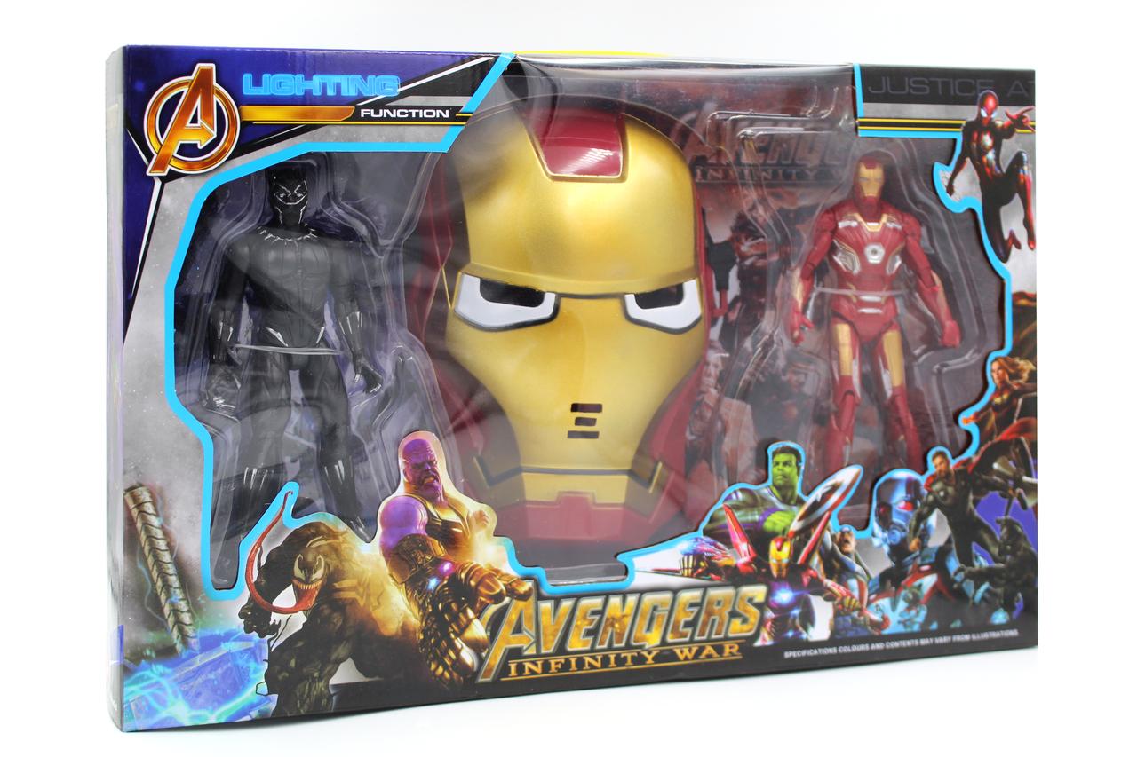 Набор героев Железный человек и Человек Пантера с маской Марвел Мстители Marvel Avengers Iron Man