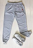 Спортивные штаны мужские с манжетами, трикотаж, светло-серый