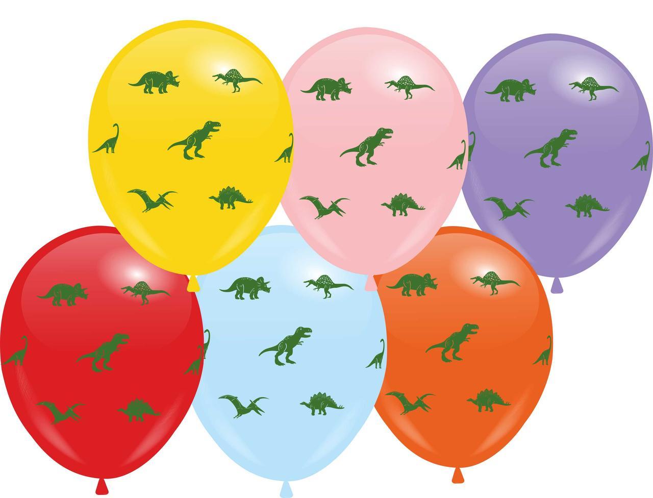 """Кулі 12"""" Асорті з мал. """"Динозаври"""", 10 шт, 4 стор."""
