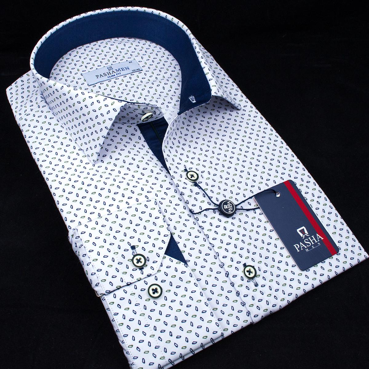Сорочка чоловіча, приталена (Slim Fit), з довгим рукавом PASHAMEN 1731-03 90% бавовна 10% поліестер L(Р)