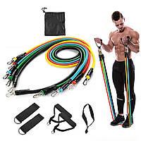 Набор трубчатых эспандеров для фитнеса упражнений и спорта 5 резиновых жгутов Бубновского универсальный Чехол