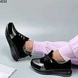 Жіночі кросівки шкіряні з напиленням чорні, фото 2