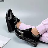 Жіночі кросівки шкіряні з напиленням чорні, фото 4