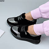 Жіночі кросівки шкіряні з напиленням чорні, фото 5