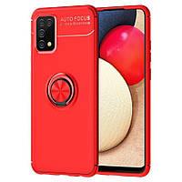 Чохол TPU Ring для Samsung Galaxy A02s / A025 бампер з підставкою кільцем Red