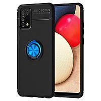 Чохол TPU Ring для Samsung Galaxy A02s / A025 бампер з підставкою кільцем Black-Blue
