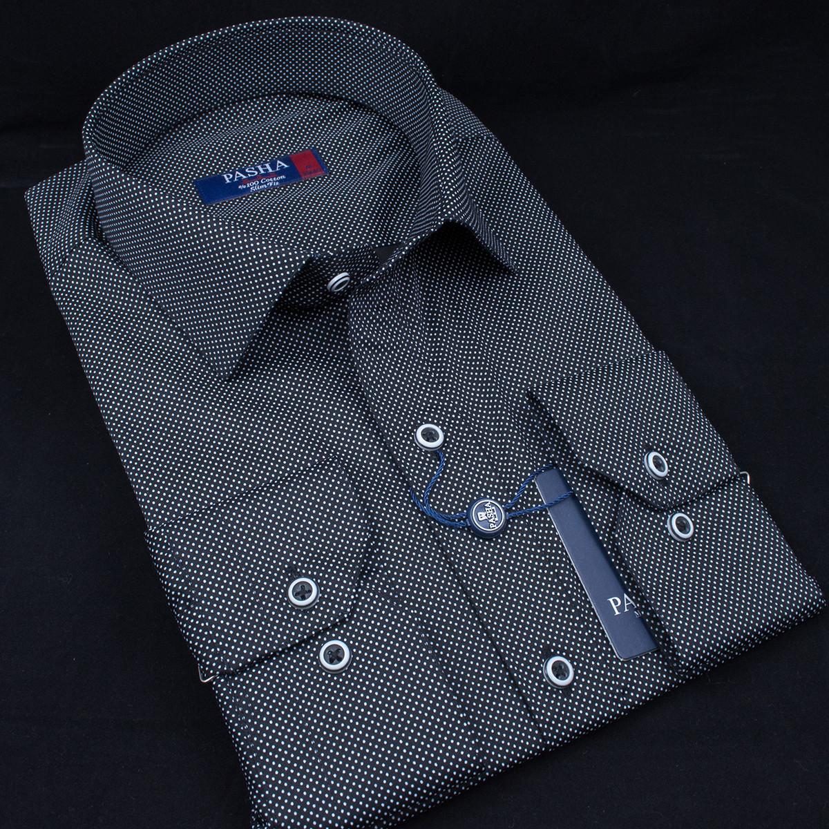 Сорочка чоловіча, приталена (Slim Fit), з довгим рукавом PASHAMEN 00120.10 100% бавовна L(Р)