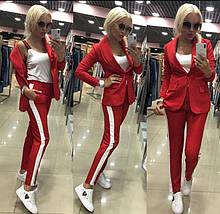 Стильный брючный костюм с лампасами: пиджак и брюки. красный, черный, хаки, бежевый. норма и батал