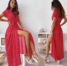 Красивое длинное платье в горох на запах много цветов норма и батал