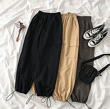 Женские стильные модные  удобные штаны  на резинке  плотный коттон чёрные бежевые графит