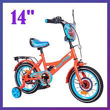 Дитячий двоколісний велосипед Tilly Vroom T-214212/1 червоний 14 дюймів для дітей 3-6 років зростанням 95-115