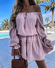 Свободное легкое  платье с длинным рукавом креп жатка розовое синее жёлтое хаки  42-44  46-48