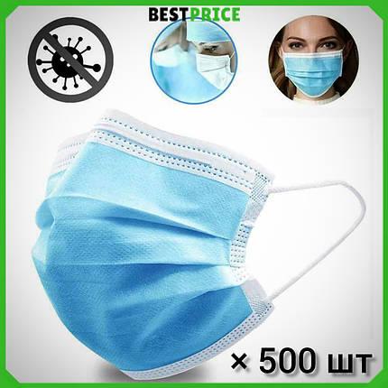 Захисні медичні тришарові маски, сині. Не шиті, паяні. Заводське виробництво. 500 шт, фото 2