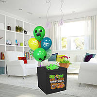 Коробка-сюрприз черная большая с Гелиевыми шарами 70х70см (Майнкрафт)+ наклейки+композиция из шаров+декор_1