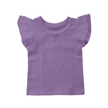 Футболка однотонная с рюшами детская для девочки, цвет фиолетовый, круглая горловина, 190грам плотность