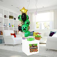 Коробка-сюрприз белая большая с Гелиевыми шарами 70х70см (Майнкрафт)+ наклейки+композиция из шаров+декор_2