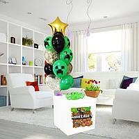 Коробка-сюрприз біла велика з Гелієвими кулями 70х70см (Майнкрафт)+ наклейки+композиція з куль+декор_2