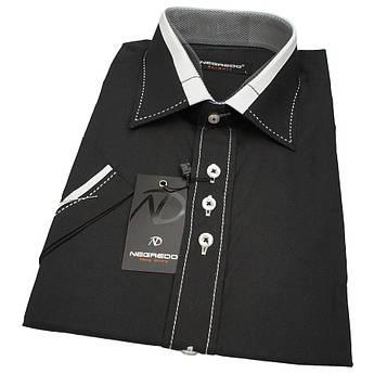 Стильна чоловіча сорочка чорного кольору з вставками Negredo 590 NKS 10