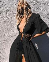 Сексуальное летнее пляжное платье с красивым вырезом, размер 50-52. Женская черная накидка