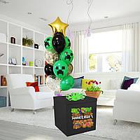 Коробка-сюрприз черная большая с Гелиевыми шарами 70х70см (Майнкрафт)+ наклейки+композиция из шаров+декор_2