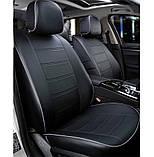 Чохли на сидіння Фольксваген Бора (Volkswagen Bora) модельні MAX-N з екошкіри Чорно-сірий, графіт, фото 3
