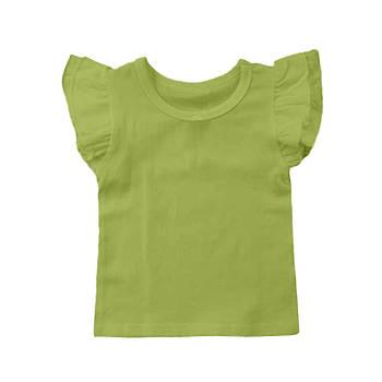 Футболка однотонная с рюшами детская для девочки, цвет салатовый, круглая горловина, 190грам плотность