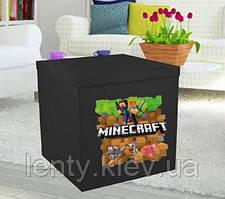 Коробка-сюрприз велика 70х70см (Манйкрафт чорна)+наклейки і декор