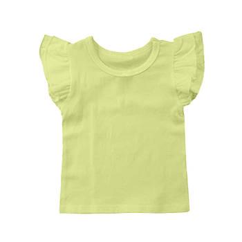 Футболка однотонная с рюшами детская для девочки, цвет лимонный, круглая горловина, 190грам плотность 68