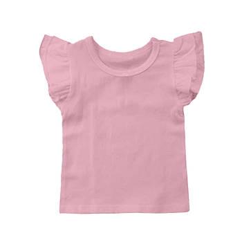 Футболка однотонная с рюшами детская для девочки, цвет розовый, круглая горловина, 190грам плотность