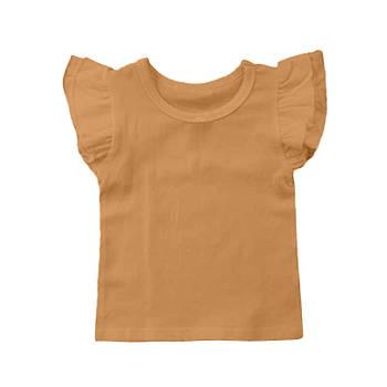Футболка однотонная с рюшами детская для девочки, цвет оранжевый, круглая горловина, 190грам плотность